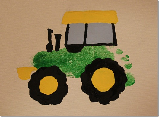 Arts and crafts icing on fabric for Tractor art projects